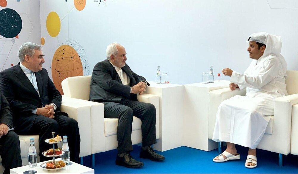 ظریف با همتای قطری دیدار کرد