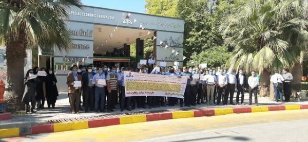 تجمع جمعی از پرسنل منطقه انرژی پارس در اعتراض به شرایط شغلی و حقوق