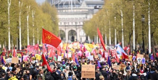 تظاهرات در لندن در اعتراض به کوشش ها برای محدود کردن حق تجمعات